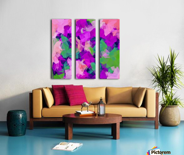 psychedelic geometric polygon pattern abstract in pink purple green Split Canvas print