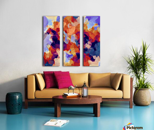 psychedelic geometric polygon pattern abstract in orange brown blue purple Split Canvas print