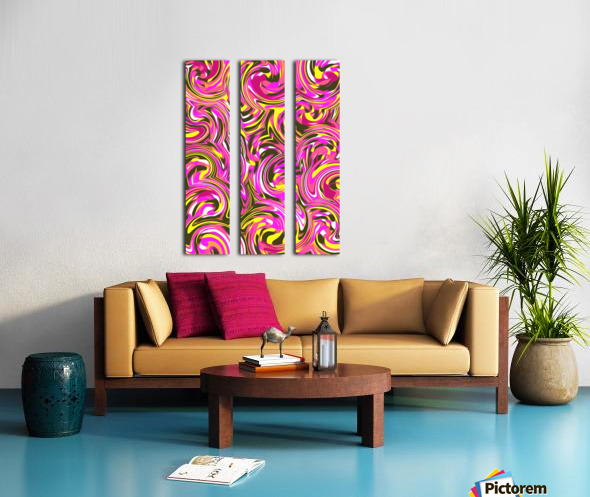 spiral line drawing abstract pattern in pink yellow black Split Canvas print