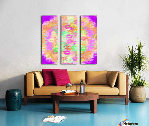sexy kiss lipstick abstract pattern in pink orange yellow green Split Canvas print