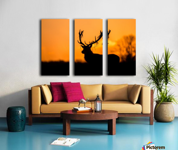 Red Deer Stag Silhouette Split Canvas print