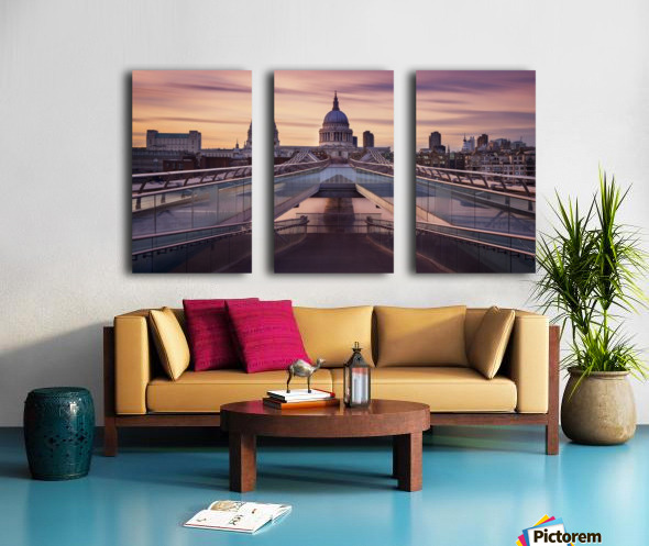 Millennium bridge leading towards St. Paul's church Split Canvas print