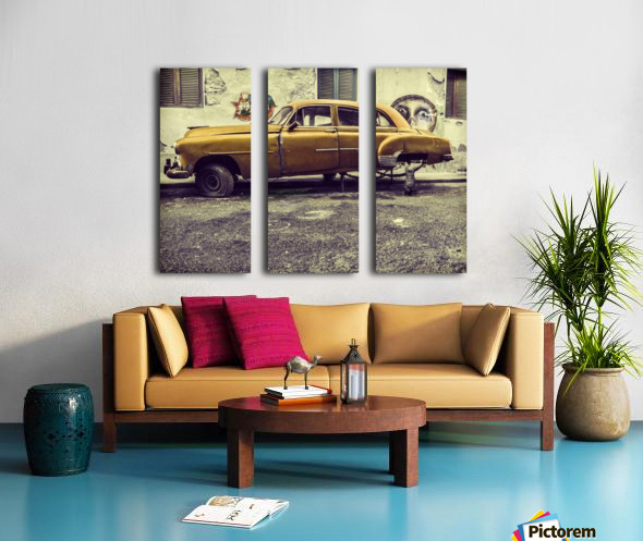 Old car cat Split Canvas print