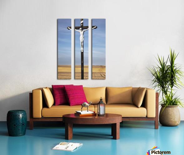 Crucifix and a farm field in the background;Saskatchewan canada Split Canvas print