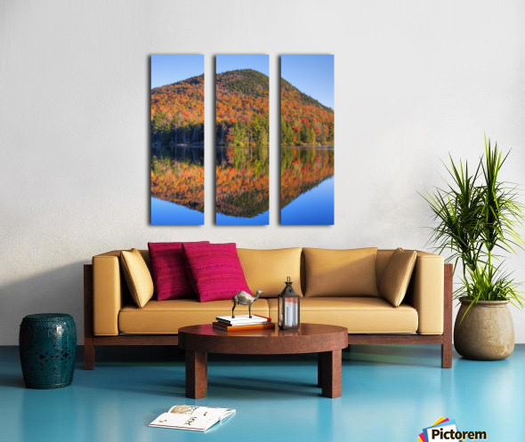 Mountain reflected in Sugarloaf pond in autumn; Quebec, Canada Split Canvas print