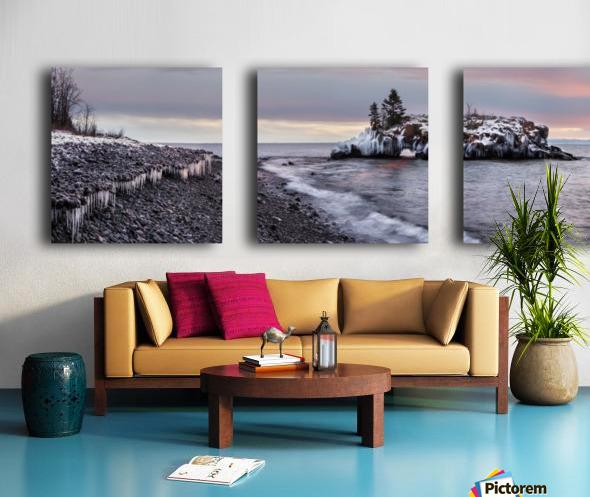 Rocks and ice on Lake Superior; Thunder Bay, Ontario, Canada Split Canvas print