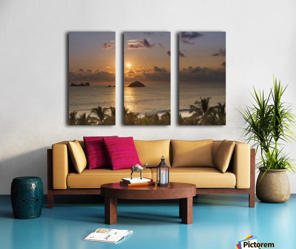Sunset over the islands in front of Ixtapa; Ixtapa, Mexico Split Canvas print