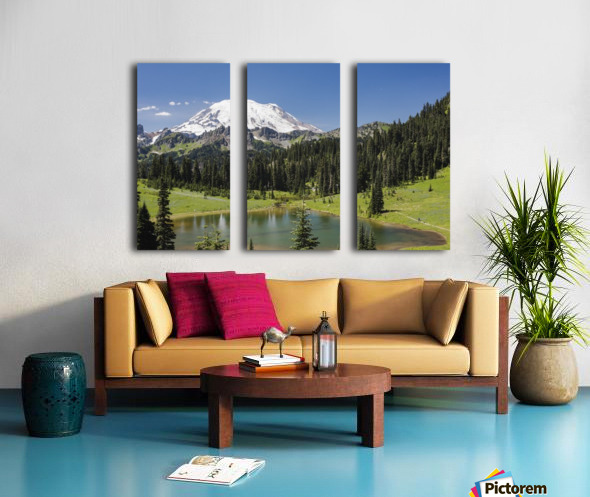 A view of Mount Rainier above Tipsoo Lake, near the top of Chinook Pass on Highway 410 in the Cascade Mountains; Washington, United States of America Split Canvas print