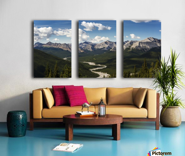 Panorama of river valley and mountain range with blue sky and clouds; Bragg Creek, Alberta, Canada Split Canvas print