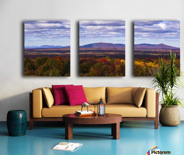 Mountain range in autumn colours with autumn coloured forest in the foreground; West Bolton, Quebec, Canada Split Canvas print