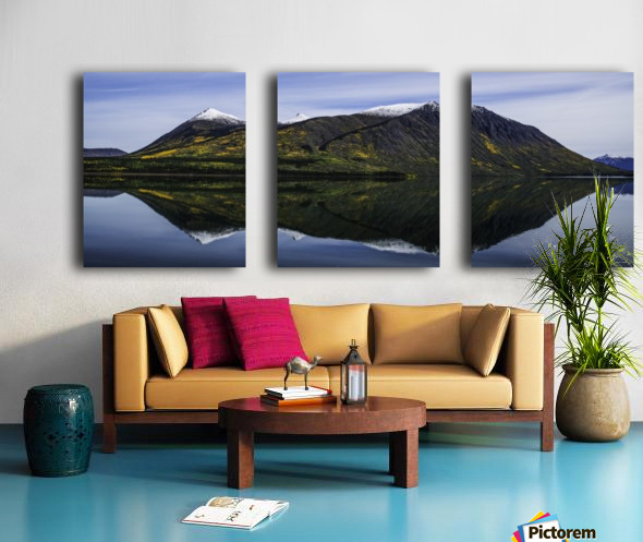 Reflection of the mountains surrounding Carcross reflected in the still waters; Yukon, Canada Split Canvas print