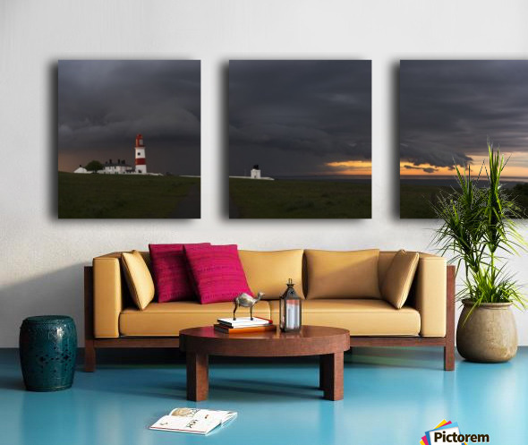Souter Lighthouse under ominous storm clouds; South Shields, Tyne and Wear, England Split Canvas print
