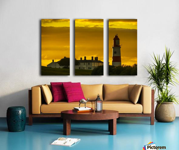 Souter Lighthouse under a glowing golden sky at sunset; South Shields, Tyne and Wear, England Split Canvas print