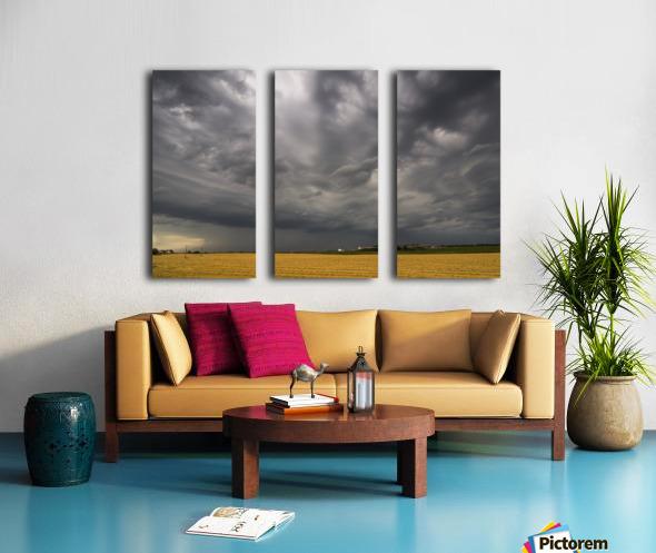 Dark storm clouds over a farm field; Whitburn, Tyne and Wear, England Split Canvas print