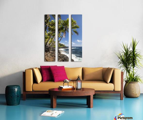 Palm trees along the Puna coastline, near Kalapana; Island of Hawaii, Hawaii, United States of America Split Canvas print