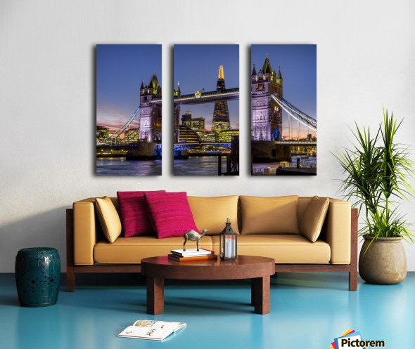 Shard with Tower Bridge at sunset; London, England Split Canvas print