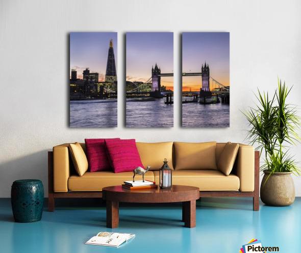 Tower Bridge and The Shard at dusk; London, England Split Canvas print