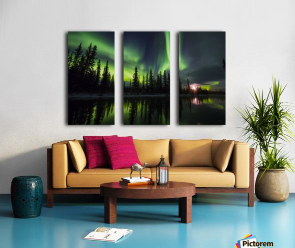 The aurora and rising moon reflect in the Clearwater River in Delta Junction; Alaska, United States of America Split Canvas print