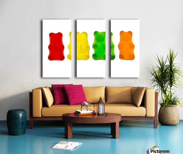 Colourful candied gummy bears in a row backlit; Calgary, Alberta, Canada Split Canvas print