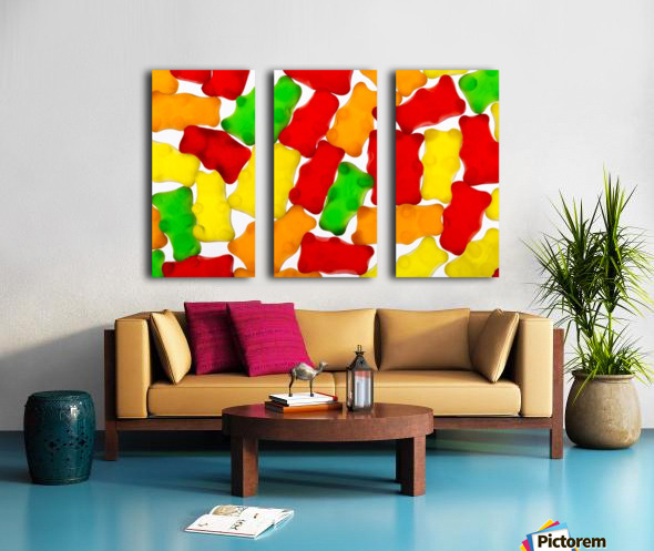 Colourful candied gummy bears backlit; Calgary, Alberta, Canada Split Canvas print