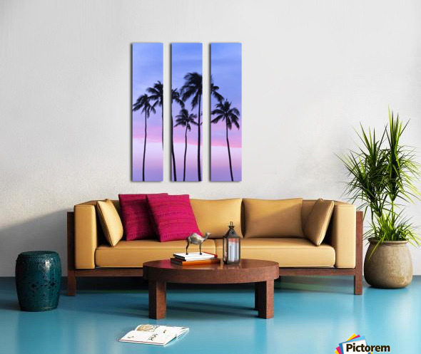 Five coconut palm trees in line with cotton candy sunset behind; Honolulu, Oahu, Hawaii, United States of America Split Canvas print