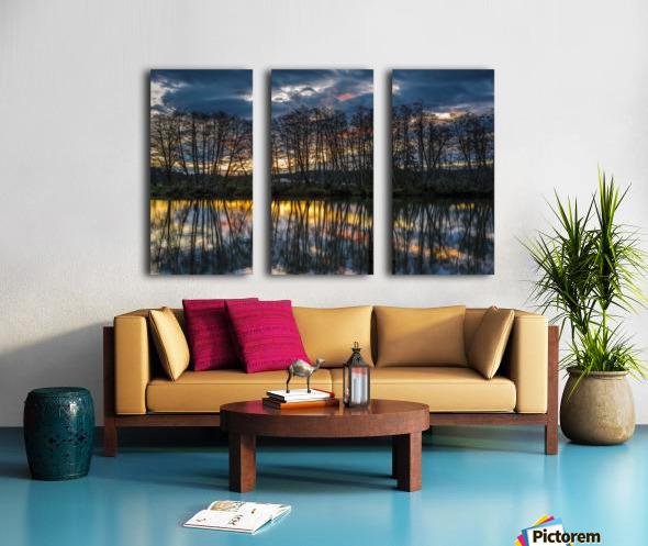 The sun rises along the Lewis and Clark River; Astoria, Oregon, United States of America Split Canvas print