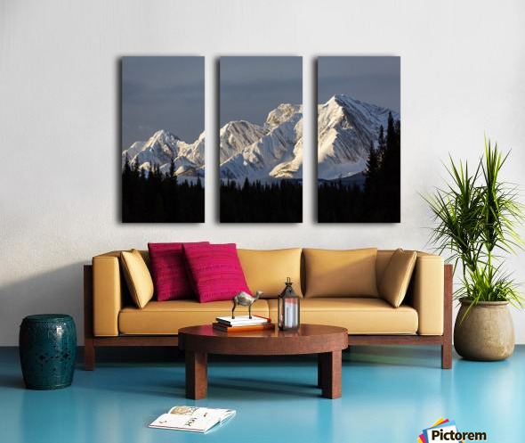 Snow covered mountains with early morning light, silhouetted forest in the foreground, blue sky and clouds; Kananaskis Country, Alberta, Canada Split Canvas print
