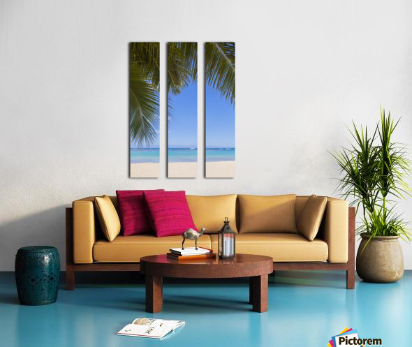 Beautiful clear day on a white sandy beach with coconut palm tree fronds hanging above; Honolulu, Oahu, Hawaii, United States of America Split Canvas print