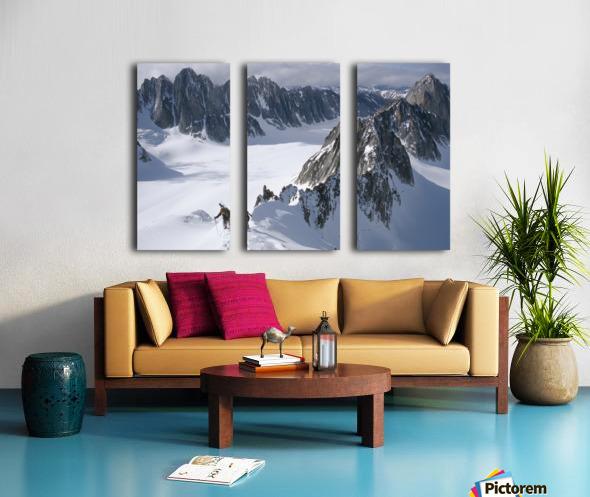 Mountaineer Climbing On Narrow Ridge In Kichatna Mtns Denali National Park Interior Alaska Winter Split Canvas print