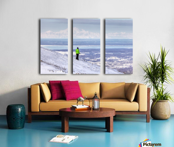 Woman snowshoer taking in the view of Mt. McKinley (Denali) from Blueberry Hill at the Glen Alps area of Chugach State Park, Anchorage, Southcentral Alaska, Winter, HDR Split Canvas print