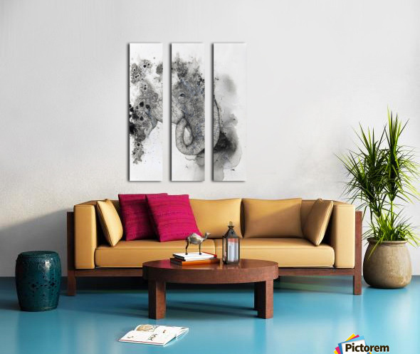 Illustration of an elephant's head Split Canvas print