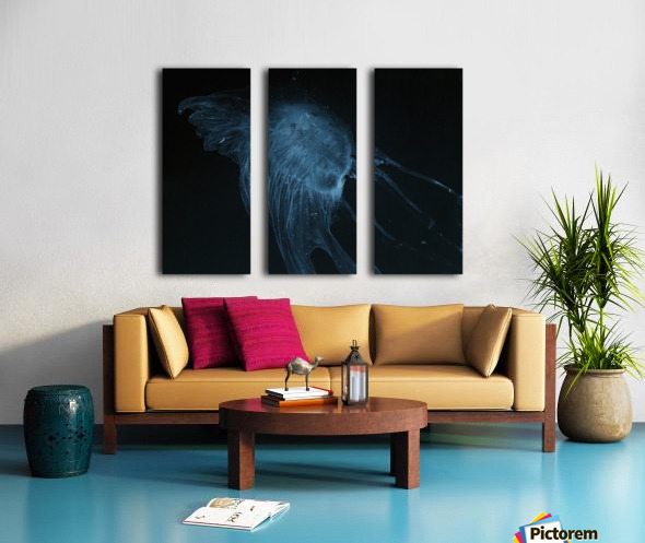 Glowing blue jellyfish in the dark water Split Canvas print