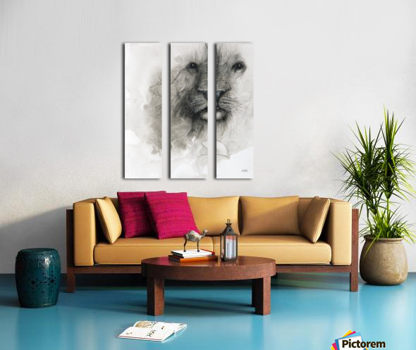 Illustration of a lion's face on a white background Split Canvas print