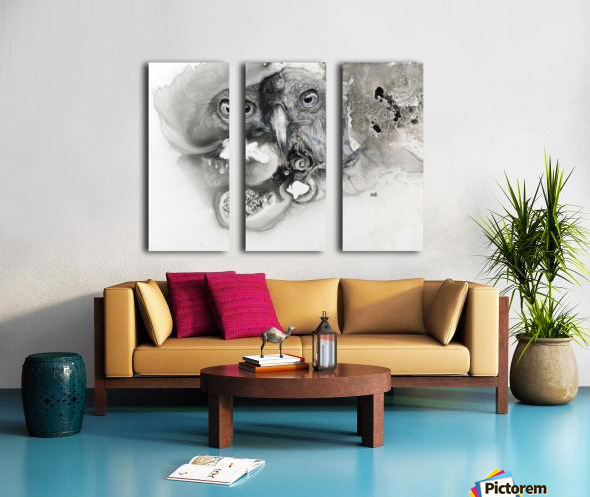 Illustration of a bird's face surrounded by mottled textures and abstract Split Canvas print