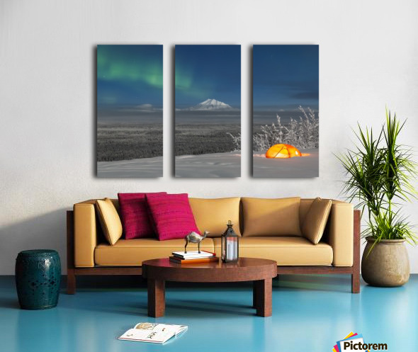 Green Aurora Borealis shines above moonlight casting light on Mount Drum and the Copper River Valley, a glowing tent on a foggy winter night, Copper River Valley, South-central Alaska; Alaska, United States of America Split Canvas print