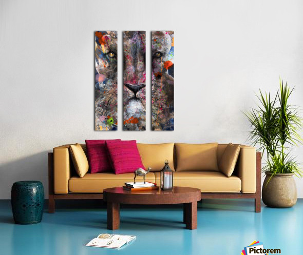 Illustration of a lion's face with colourful splashes Split Canvas print
