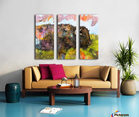 Illustration of a buffalo with colourful splashes and landscape Split Canvas print