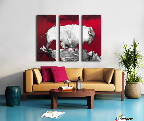 Illustration of a bison against a red background Split Canvas print