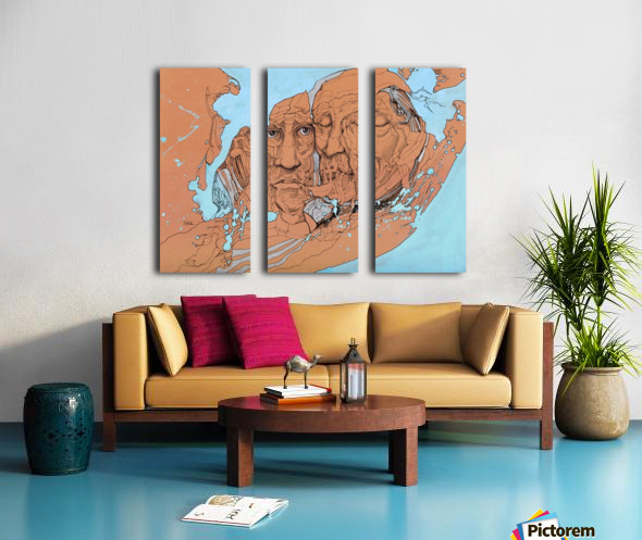 Illustration of two male faces and an abstract blue and brown background Split Canvas print
