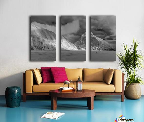 Hikers make the trek to Portage Glacier on Portage Lake in winter, South-central Alaska; Alaska, United States of America Split Canvas print