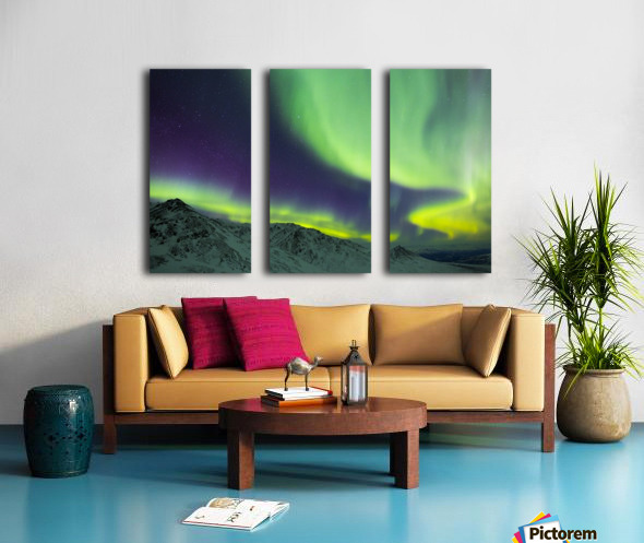 Aurora borealis swirls over mountains within Denali National Park on a very cold winter night; Alaska, United States of America Split Canvas print
