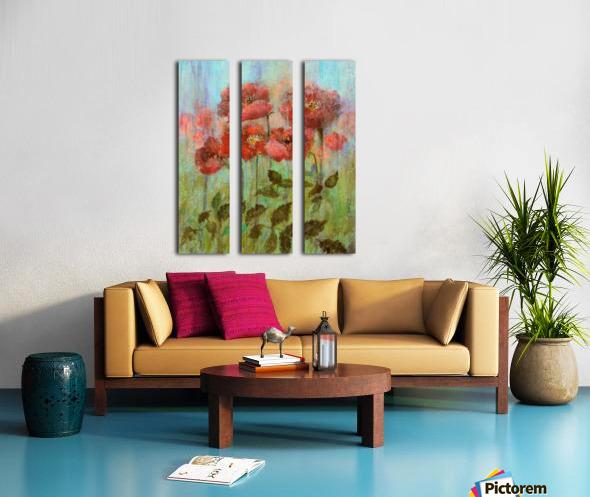 Poppies In Pastel Red Split Canvas print