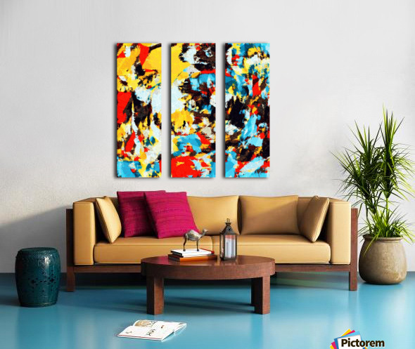psychedelic geometric splash painting abstract pattern in yellow red blue brown Split Canvas print
