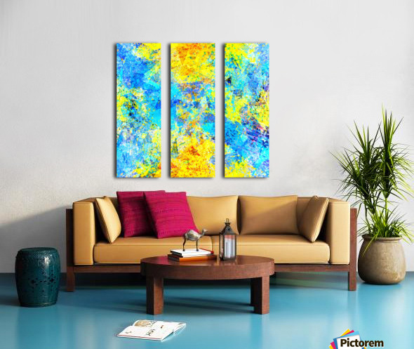 psychedelic geometric abstract pattern in yellow and blue Split Canvas print