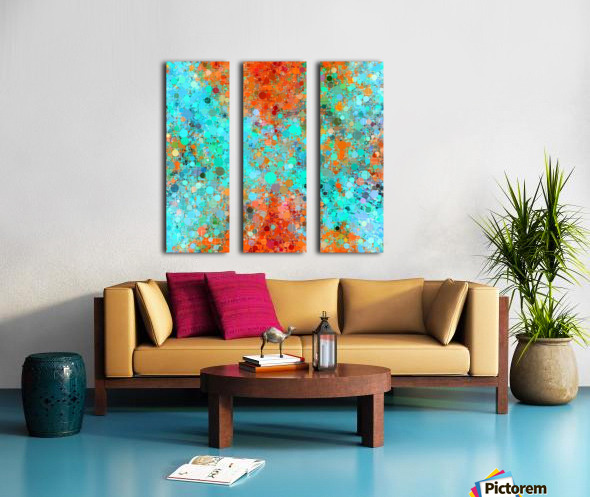 psychedelic geometric circle pattern and square pattern abstract in orange and blue Split Canvas print