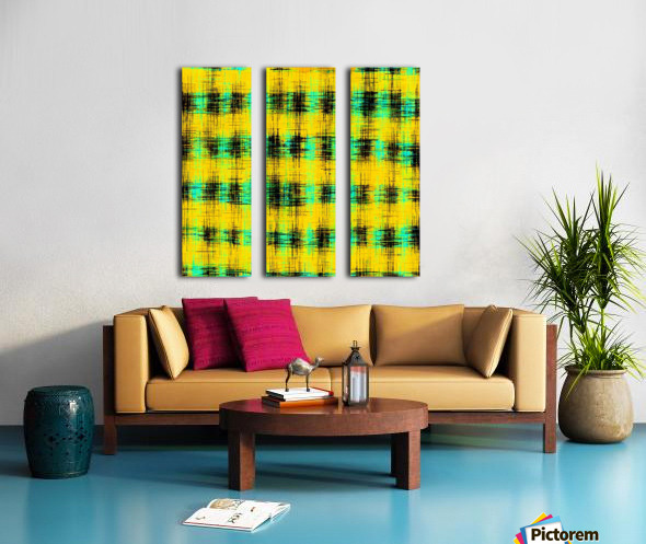 plaid pattern abstract texture in yellow green black Split Canvas print