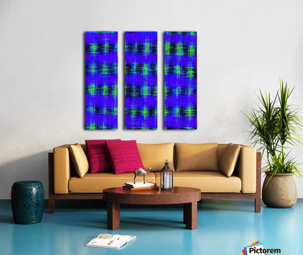 plaid pattern abstract texture in blue green black Split Canvas print