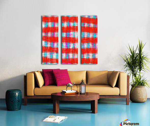 plaid pattern abstract texture in in red blue pink Split Canvas print