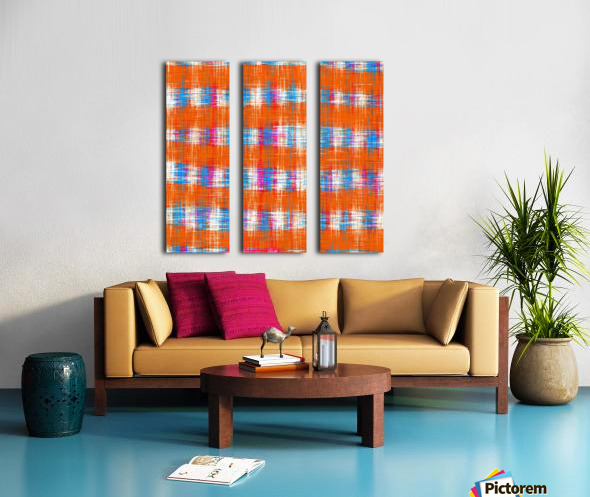plaid pattern abstract texture in orange blue pink Split Canvas print