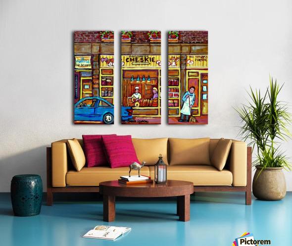 CHESKIES BAKERY RUE BERNARD MONTREAL STREET SCENE Split Canvas print